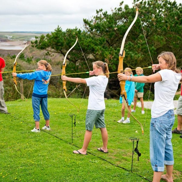 Archery session on a family holiday in Cornwall