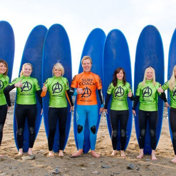 Hen group surfing lesson Bude