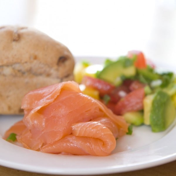 Salmon starter served with chunky bread and salad