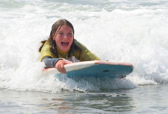 Body boarding on Primary School Residentials