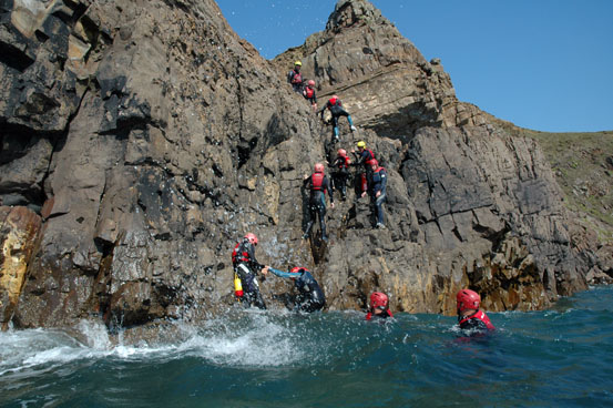 adenaline sport coasteering in bude, cornwall for groups and families on holiday