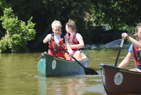 Open boating on Bude canal on a residential trip