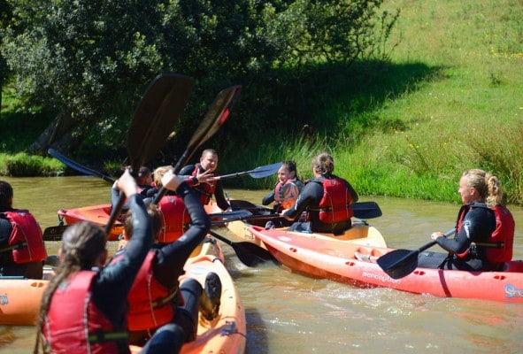 Kayaking games on school trip
