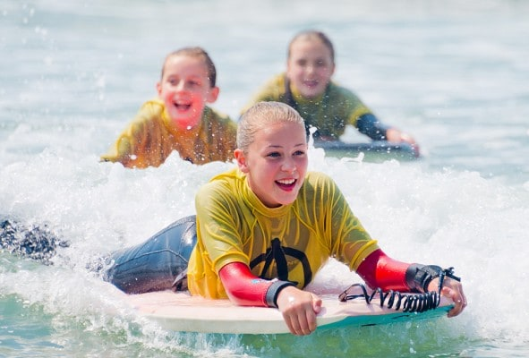 Body Boarding on school activity residential