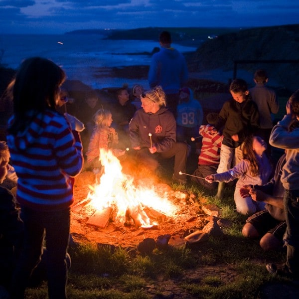 Yr 6 group cliff top fire night
