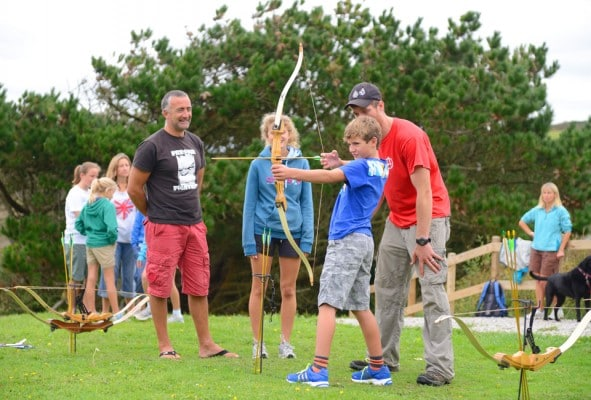 Family archery session at Outdoor Adventure