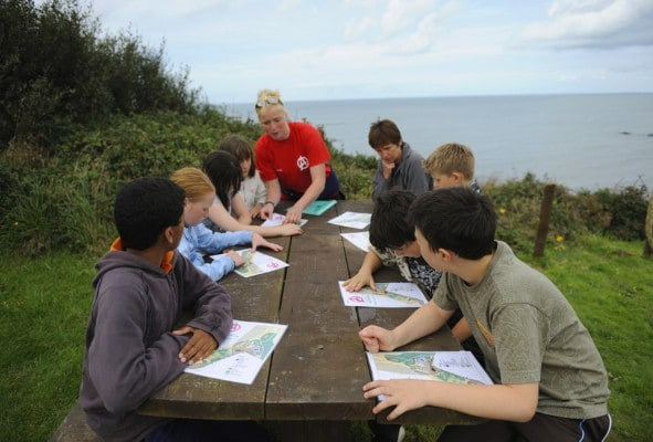 yr 6 map orientation on activity trip