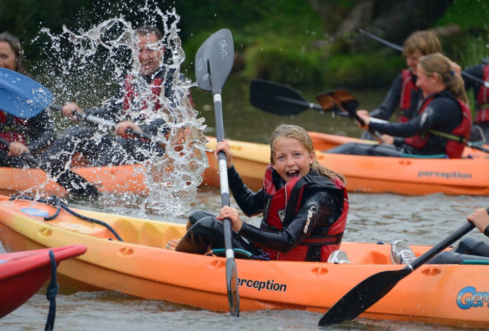 Family activity holiday fun on a siton top kayak