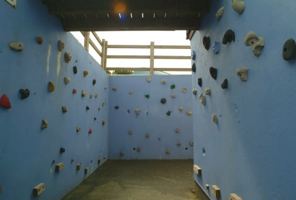 Our team building climbing wall