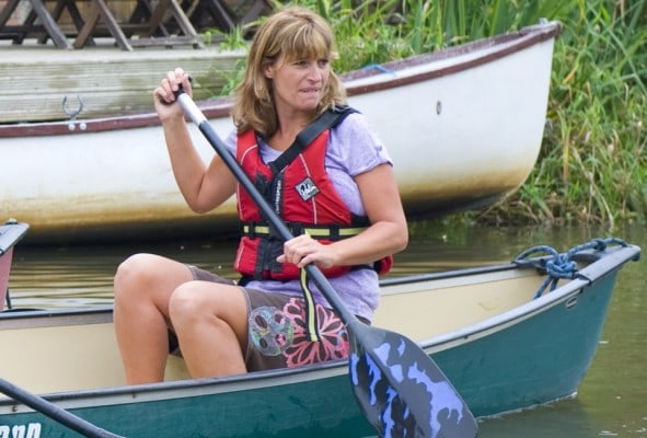 Hen party helming a Canoe on an activities weekend