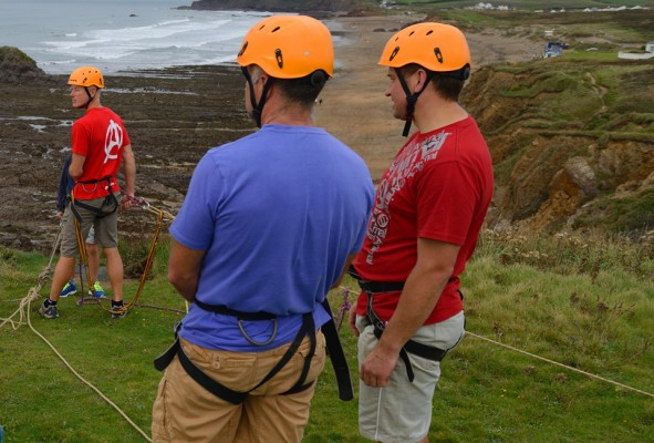 Stag activity group looking off the top of the 80ft abseil