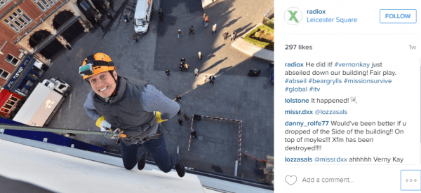 Vernon Kay abseiling down Global Studios