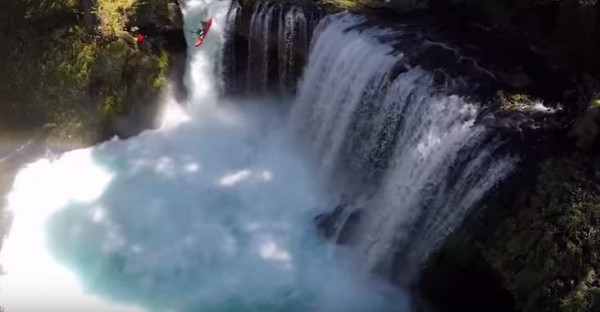 Pro Kayakers Dane Jackson and Rafa Ortiz paddling off waterfall like on our school residential trips
