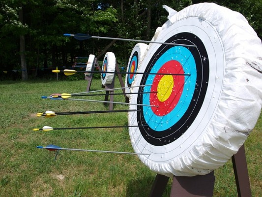 Close up of an archery target as seen on our school residential trips
