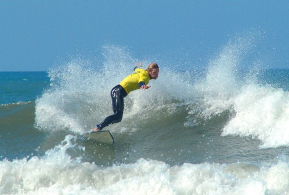 One of the instructors from our outdoor activity centre surfing