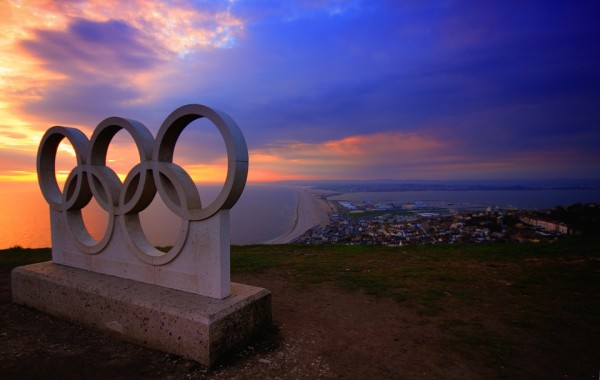 Olympic Rings with a sunset in the background