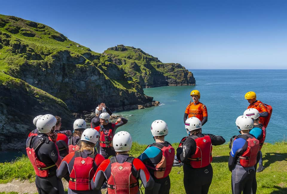 Coasteering group introduction in Bude, Cornwall