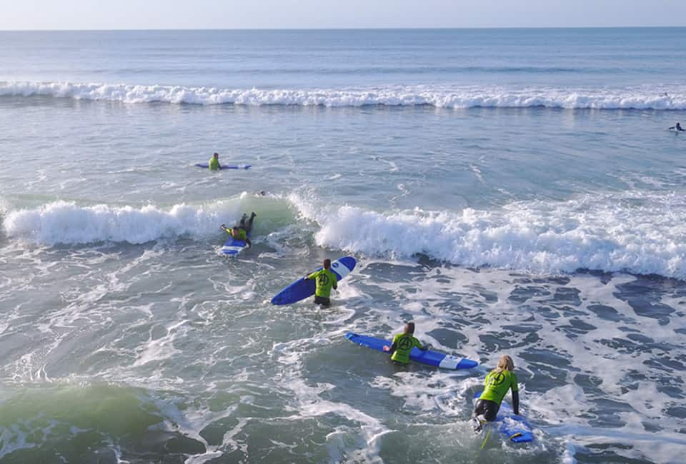 outdoor instructor training group surfing in Bude Cornwall