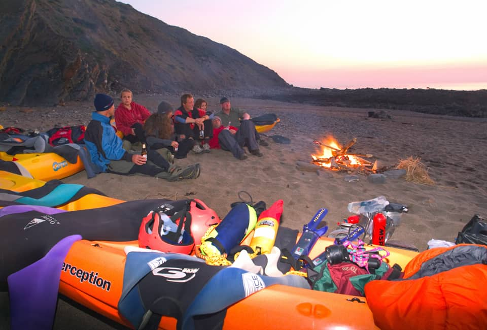 outdoor instructor course participants on sea kayaking trip