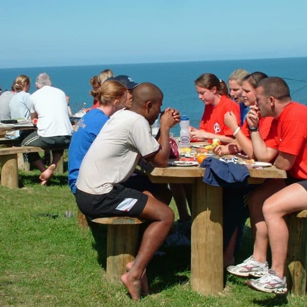 outdoor instructor training participants socialising together