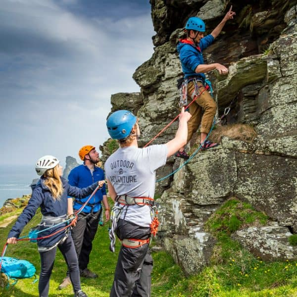 outdoor instructor course group climbing in Cornwall