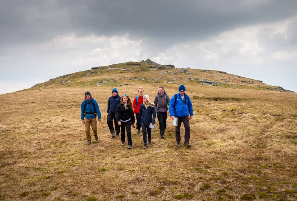 outdoor instructor course group hiking on Bodmin moor