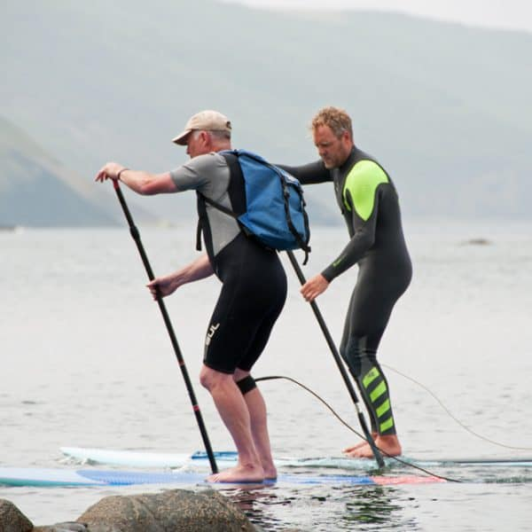 outdoor instructor training on SUP's on the sea