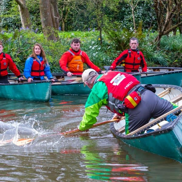 outdoor instructor training in open boating support strokes