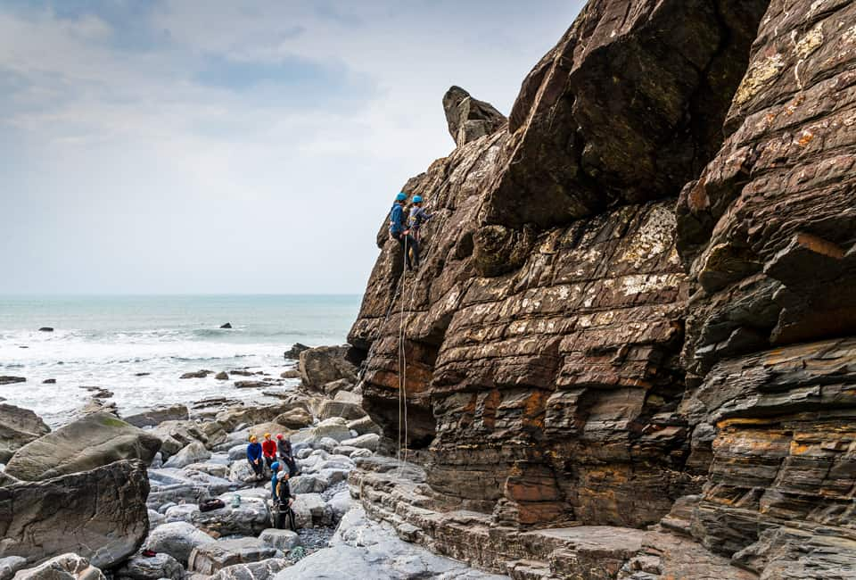 outdoor instructor course climbing on sea cliffs in Cornwall